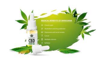 poster bianco con benefici medici della marijuana, banner bianco per sito Web con bottiglia di olio cbd con pipetta e foglie di marijuana. benefici usi della marijuana medica vettore