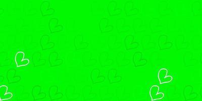 modello vettoriale verde chiaro, giallo con cuori colorati.