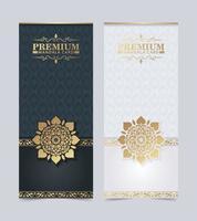 biglietto da visita di lusso e modello di vettore del logo ornamento vintage. retrò elegante fiorisce design del telaio ornamentale e pattern di sfondo.
