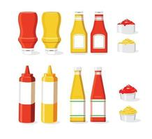 set di icone di ketchup e senape