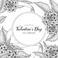 sfondo floreale disegnato a mano di San Valentino. vettore