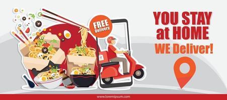 servizio di consegna cibo, servizio di consegna scooter, illustrazione vettoriale