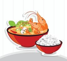 tom yum kung thai zuppa piccante e riso vettore
