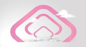 fondale rosa, podio per espositore del prodotto. vettore