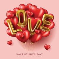 felice banner di san valentino con palloncini d'amore vettore