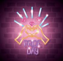 luce al neon del giorno dell'orgoglio con forma di mani a cuore vettore