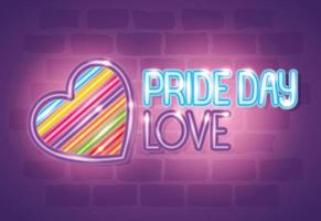 luce al neon del giorno dell'orgoglio con i colori del cuore e dell'arcobaleno vettore