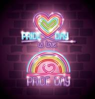 luce al neon del giorno dell'orgoglio con cuori e arcobaleno vettore