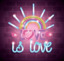 luce al neon del giorno dell'orgoglio con etichetta l'amore è amore vettore