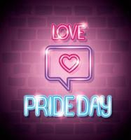 luce al neon del giorno dell'orgoglio con fumetto e cuore vettore