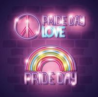 luce al neon del giorno dell'orgoglio con arcobaleno e simbolo di pace e amore vettore