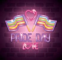 bandiere del giorno dell'orgoglio amore alla luce al neon vettore