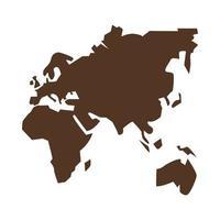 icona di geografia silhouette africa, europa e asia vettore