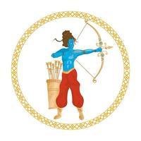 blu dio rama e tiro con l'arco, icona della religione indù vettore