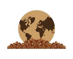 chicchi di caffè e mappa della terra vettore