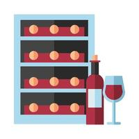 bottiglia di vino con tazza e contenitore
