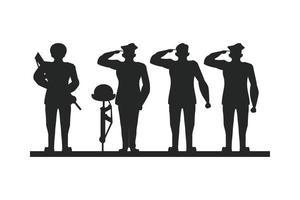 gruppo di soldati che salutano silhouette vettore