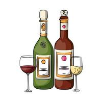 bottiglia di vino e champagne con coppe