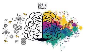 poster di potenza del cervello con schizzi di colori vettore