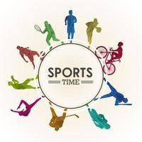 poster di tempo sportivo con sagome di atleti in cornice circolare vettore