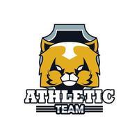 icona di emblema animale testa di gatto con scritta squadra atletica vettore