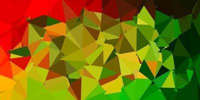 sfondo di mosaico triangolo vettoriale verde chiaro, rosso.