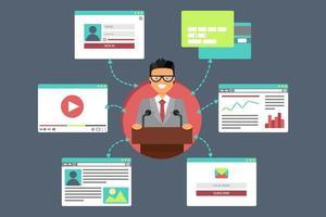 rete sociale virtuale web vettore