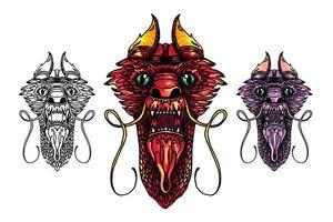 tatuaggio testa di drago vettore