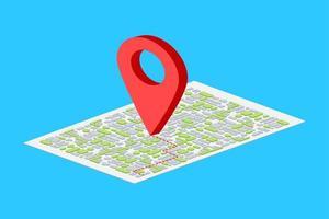Puntatore della mappa isometrica 3D su sfondo blu vettore
