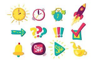 set di segni di gestione del tempo vettore