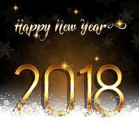 Felice anno nuovo sfondo con testo oro immerso nella neve vettore