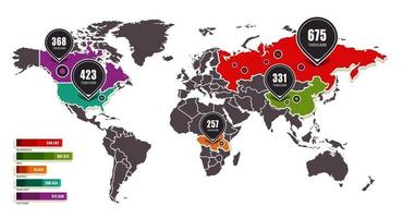 vettore di mappa del mondo infografica