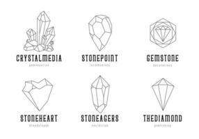 insieme di vettore di modelli di logo di cristalli