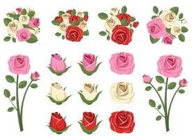 set di illustrazione vettoriale vintage rose isolato su sfondo bianco