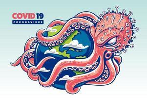 il coronavirus sotto forma di polpo avvolge il globo con i suoi tentacoli vettore