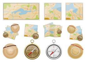 africa safari mappa disegno vettoriale illustrazione set isolato su sfondo bianco