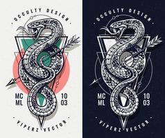 design occulto con serpente e geometrie vettore