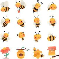 set di api da miele super carino cartone animato vettore