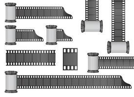 Insieme dell'illustrazione di progettazione di vettore del rotolo di pellicola della fotocamera isolato su fondo bianco