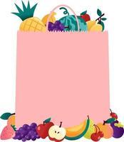 divertimento estivo frutta rosa sacchetto di carta copyspace vettore
