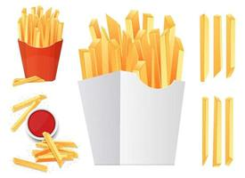 set di illustrazione vettoriale di patatine fritte isolato su sfondo bianco