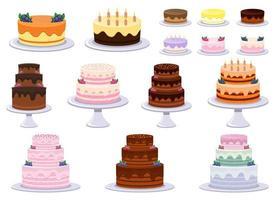 Insieme dell'illustrazione di progettazione di vettore della torta di compleanno isolato su fondo bianco