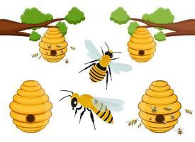 ape albero alveare disegno vettoriale illustrazione set isolato su sfondo bianco