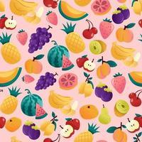 divertente fondo senza cuciture di frutti estivi vettore