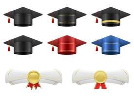 cappello di laurea e illustrazione di disegno vettoriale diploma insieme isolato su sfondo bianco