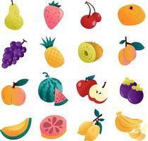 divertente set di frutti estivi vettore