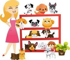 cartone animato cuccioli negozio di scaffali per animali domestici vettore