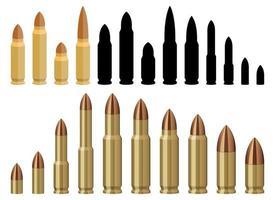 set di illustrazione di disegno vettoriale proiettile pistola isolato su priorità bassa bianca