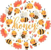 decorazione rotonda delle api del miele del fumetto super carino vettore