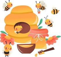 vaso dell'alveare delle api del miele del fumetto super carino vettore